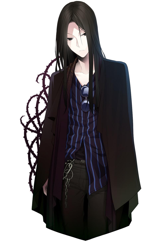 Аниме парень с длинными черными волосами