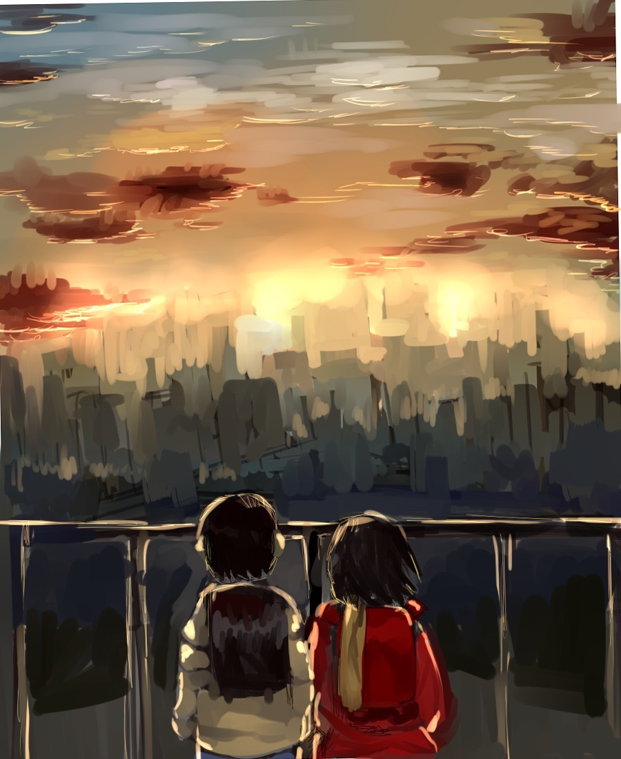 夕日を眺める2人の僕だけがいない街の壁紙
