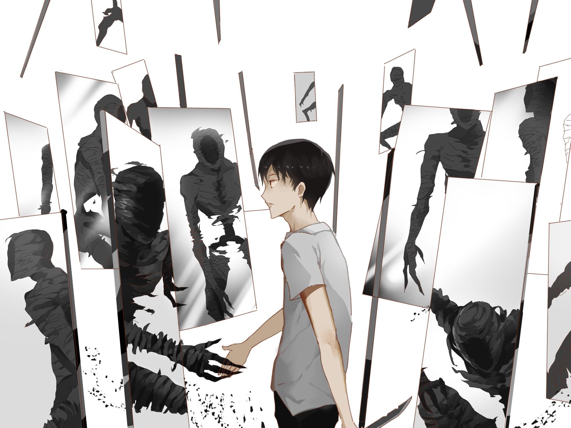 鏡の中の黒い幽霊と圭の亜人の壁紙